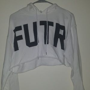 Forever 21 Size Small White FUTR Hooded Crop Top S